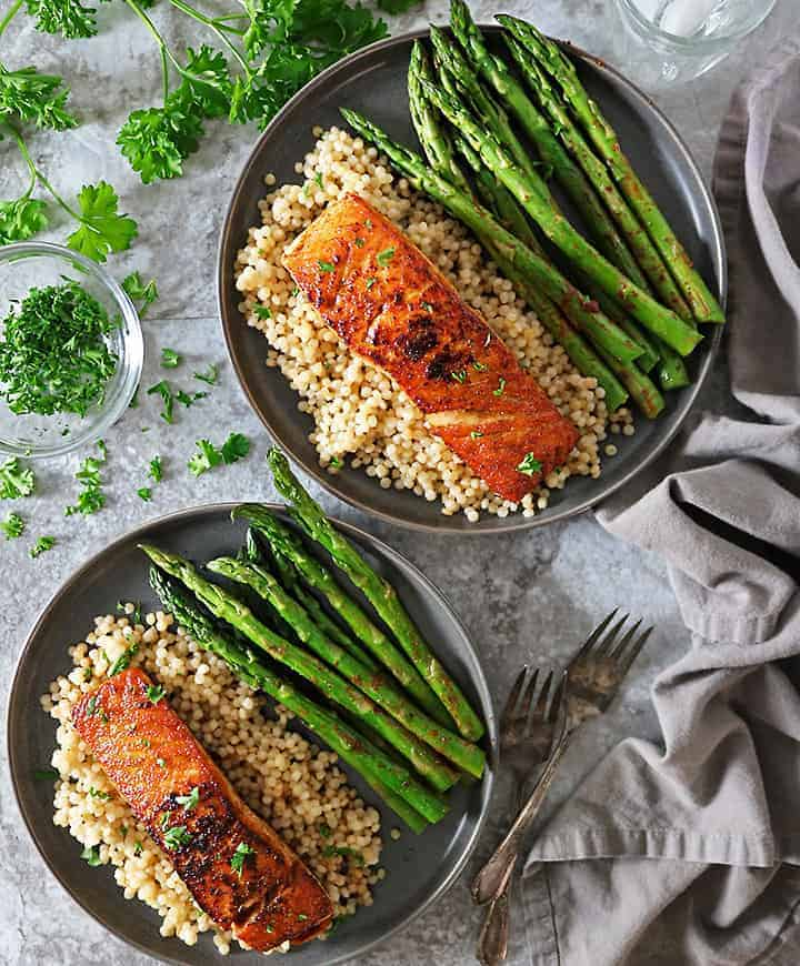 Easy and Tasty Harissa Salmon Israeli Couscous Dinner