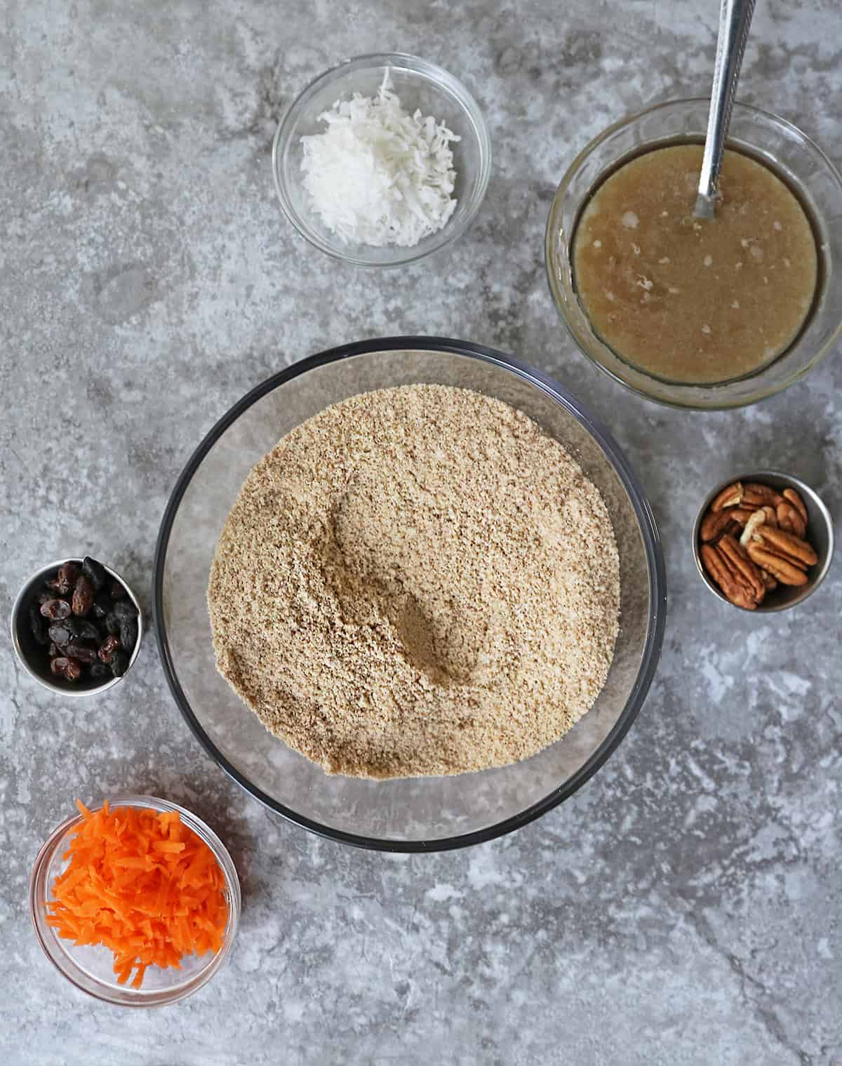Easy Steps For Making paleo carrot cake bars - mix dry ingredients and then wet ingredients