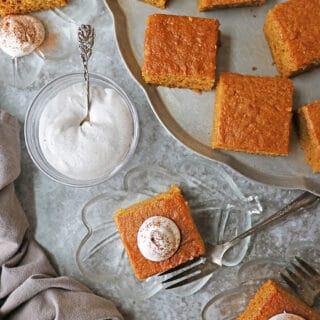 Enjoying gluten-free pumpkin spice cake