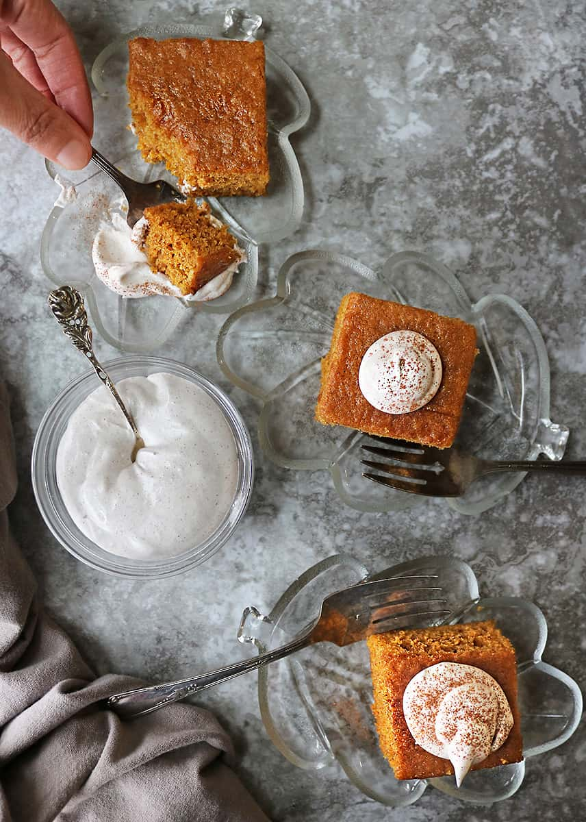 Enjoying gluten free pumpkin spice cake