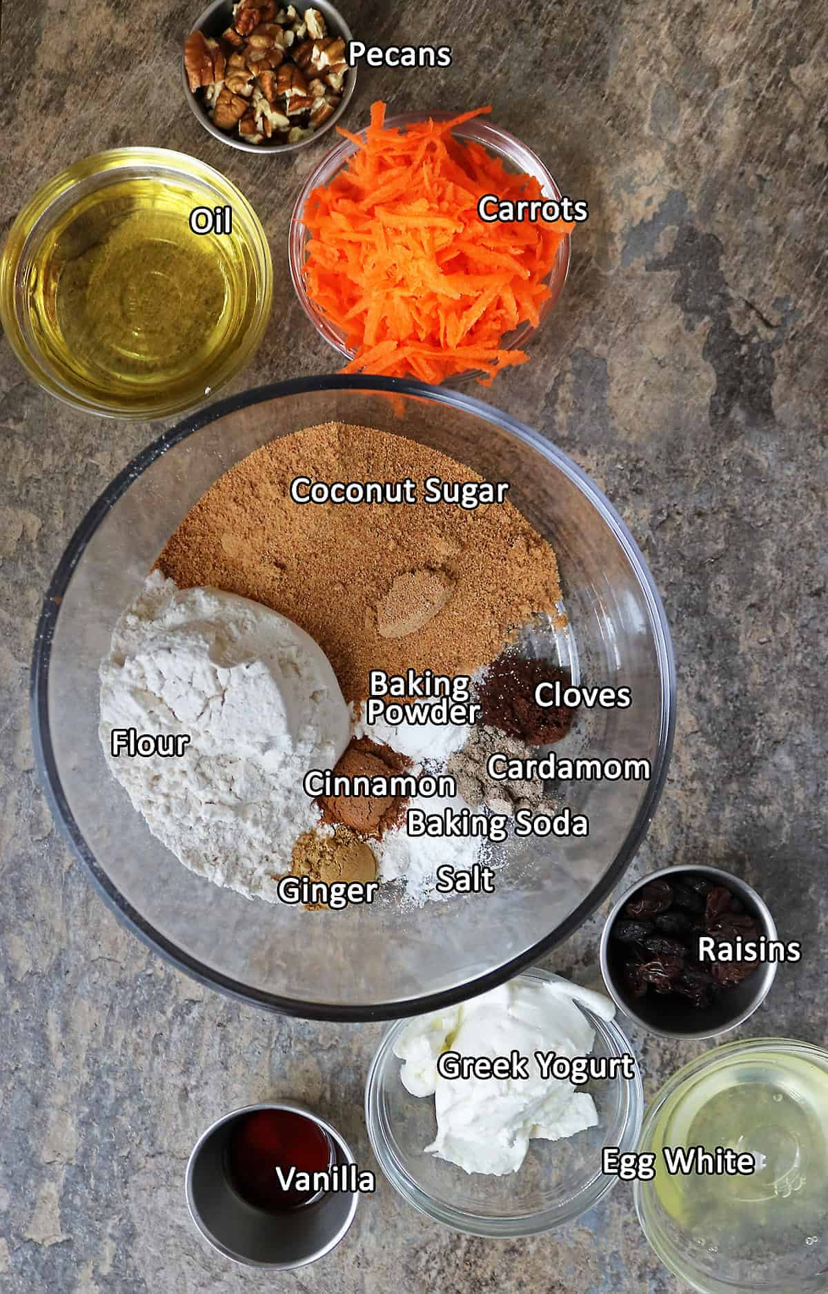 All the Ingredients to make carrot cake cupcakes