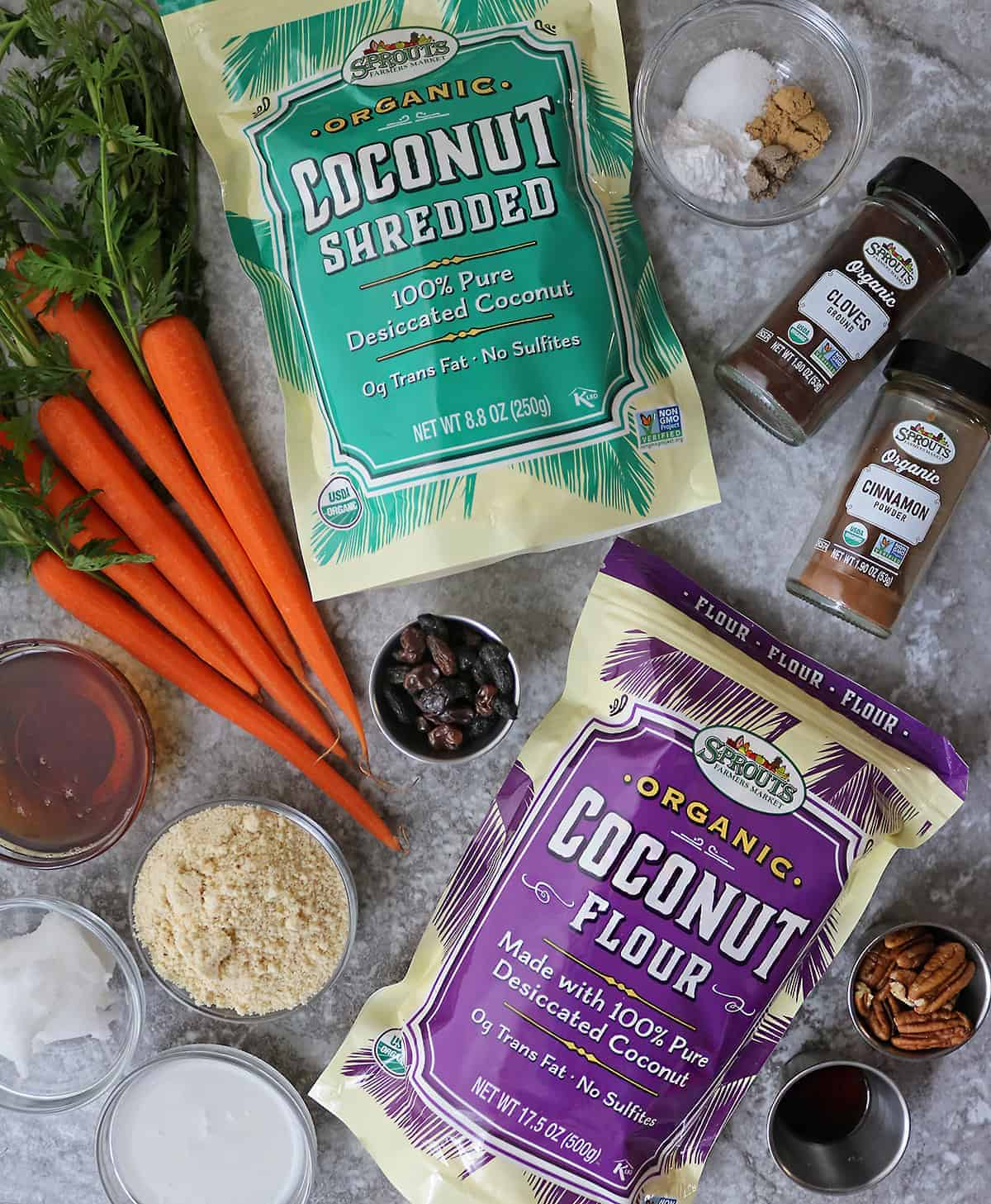 Ingredients from Sprouts to make paleo carrot cake bars