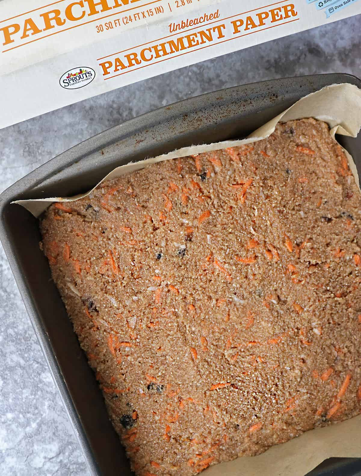 Baking paleo carrot cake bars