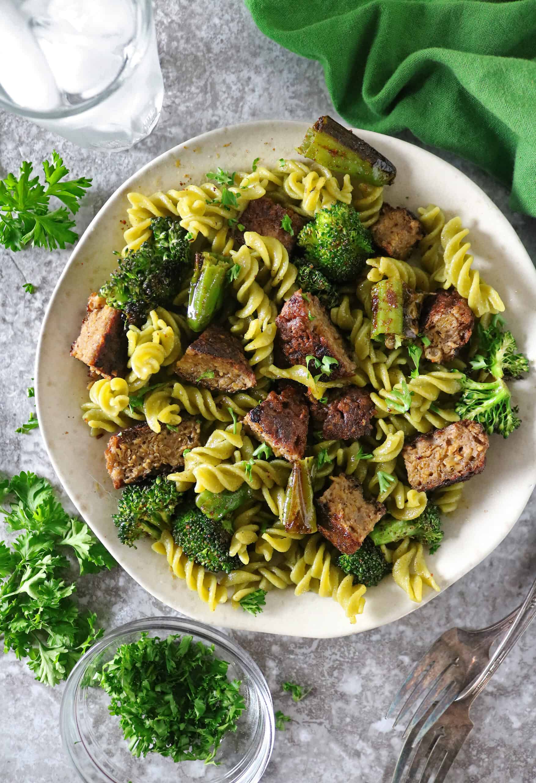 Plate with Sprouts Beyond Burger Pasta Salad
