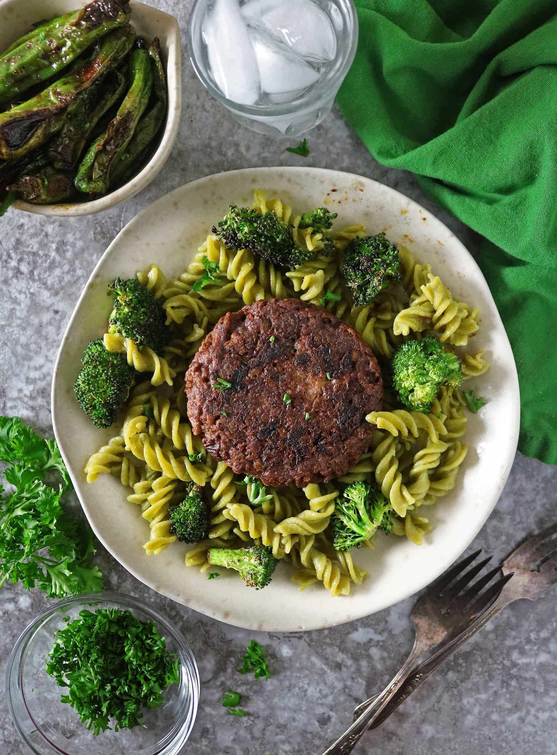Veggie Burger Pasta Bowls -  a delicious and easy plant based dinner.