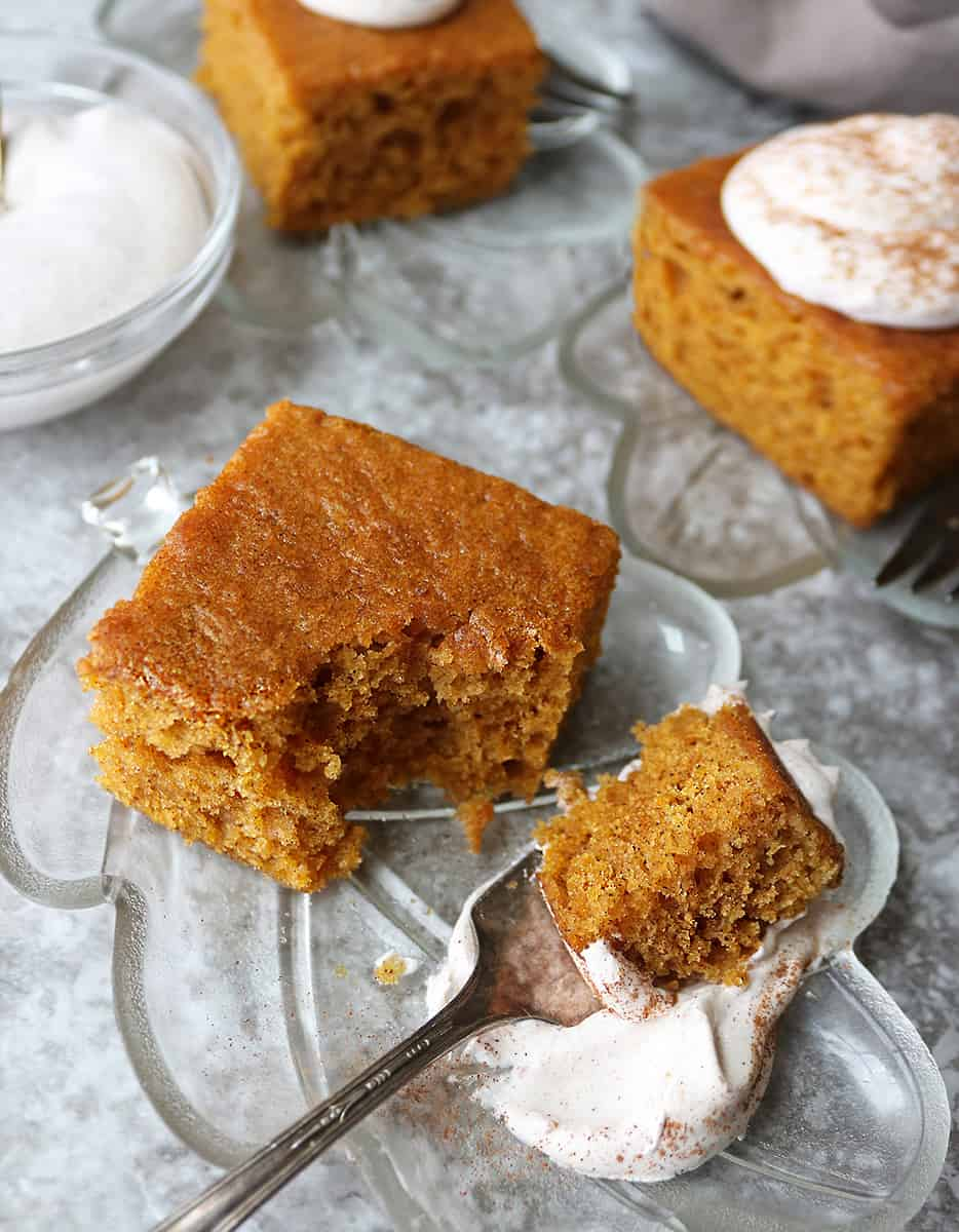 Taking a taste of a slice of Easy and Tasty gluten free pumpkin spice cake
