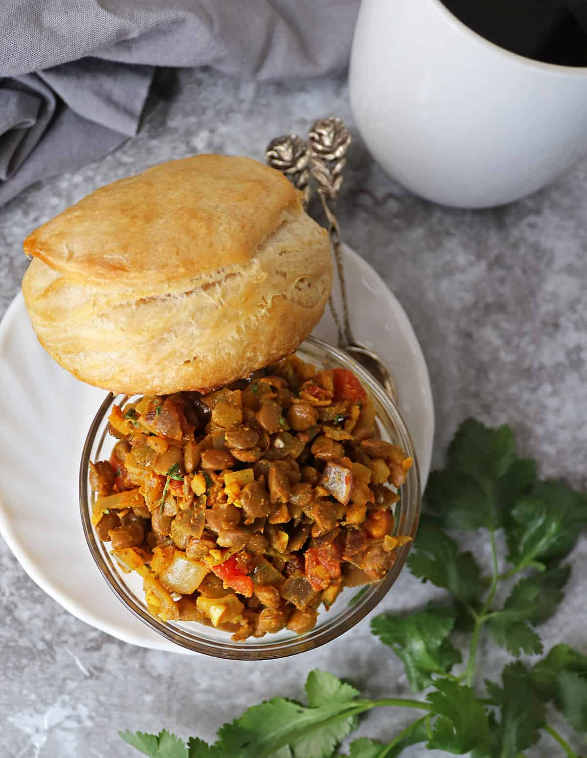 Biscuits With Lentil tomato saute