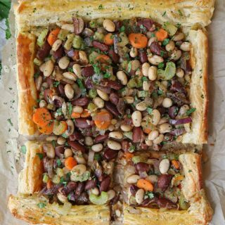 Flaky bean pie with puff pastry.