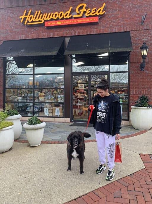 Daughter and dog outside Hollywood Feed