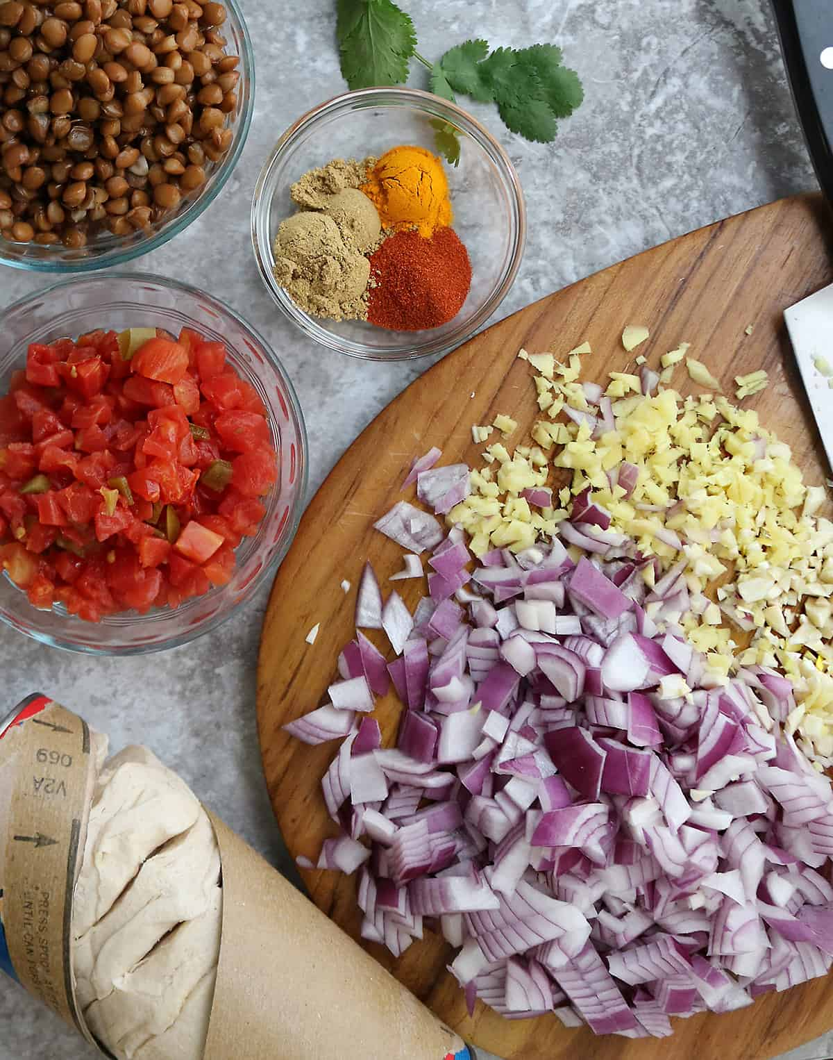 Ingredients for lentil stuffed buns