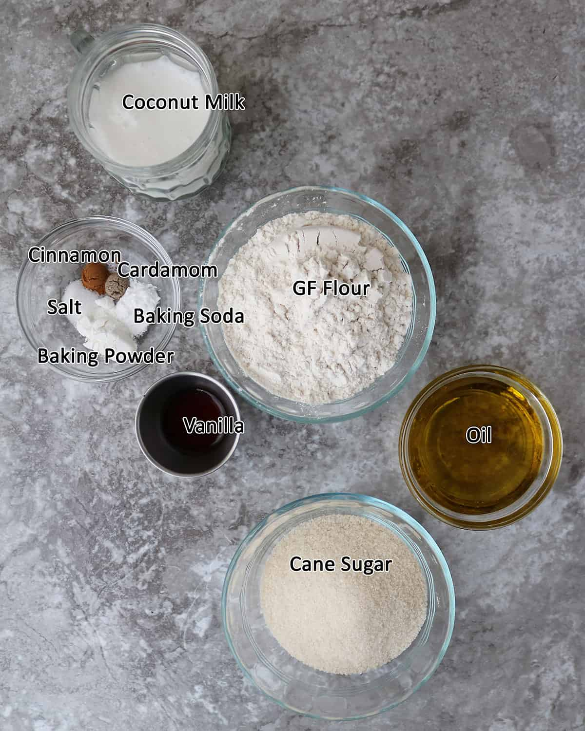 Ingredients to make vegan Cupcakes