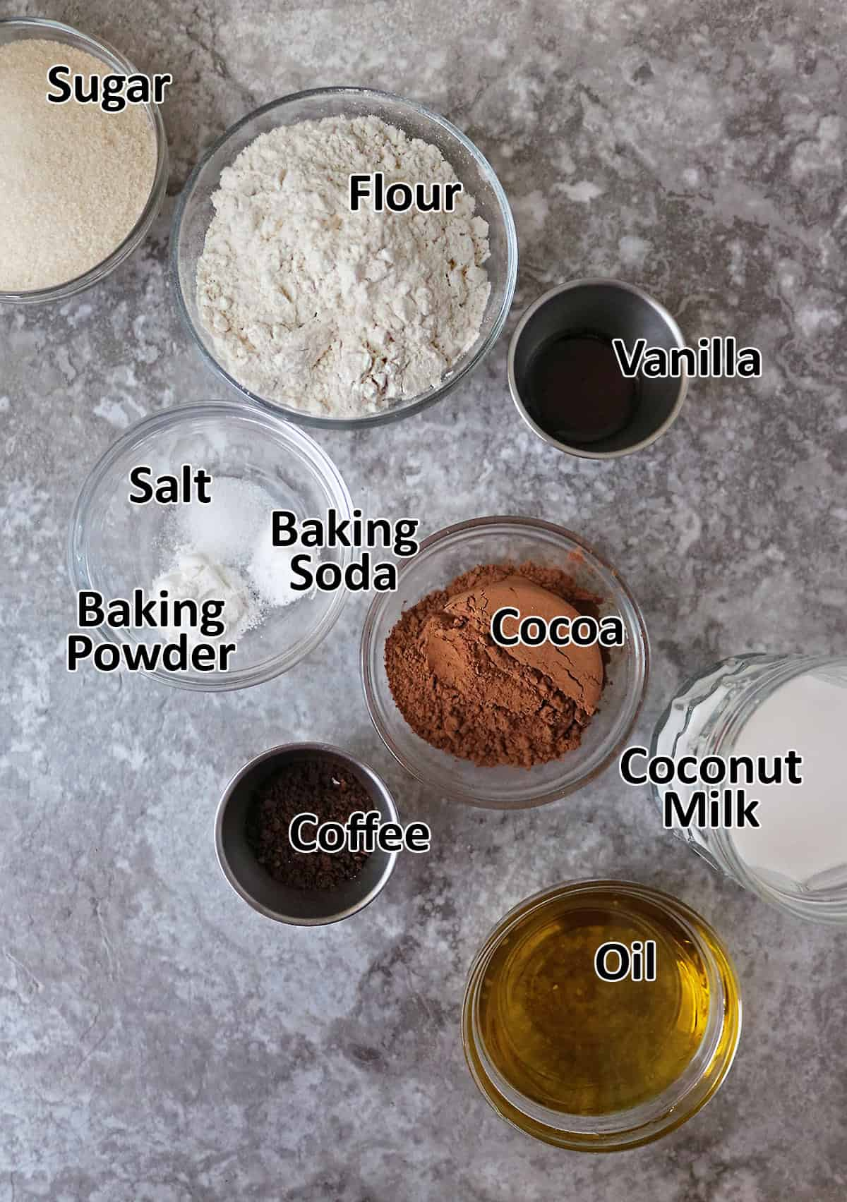 the 10 Ingredients to make vegan chocolate cupcakes