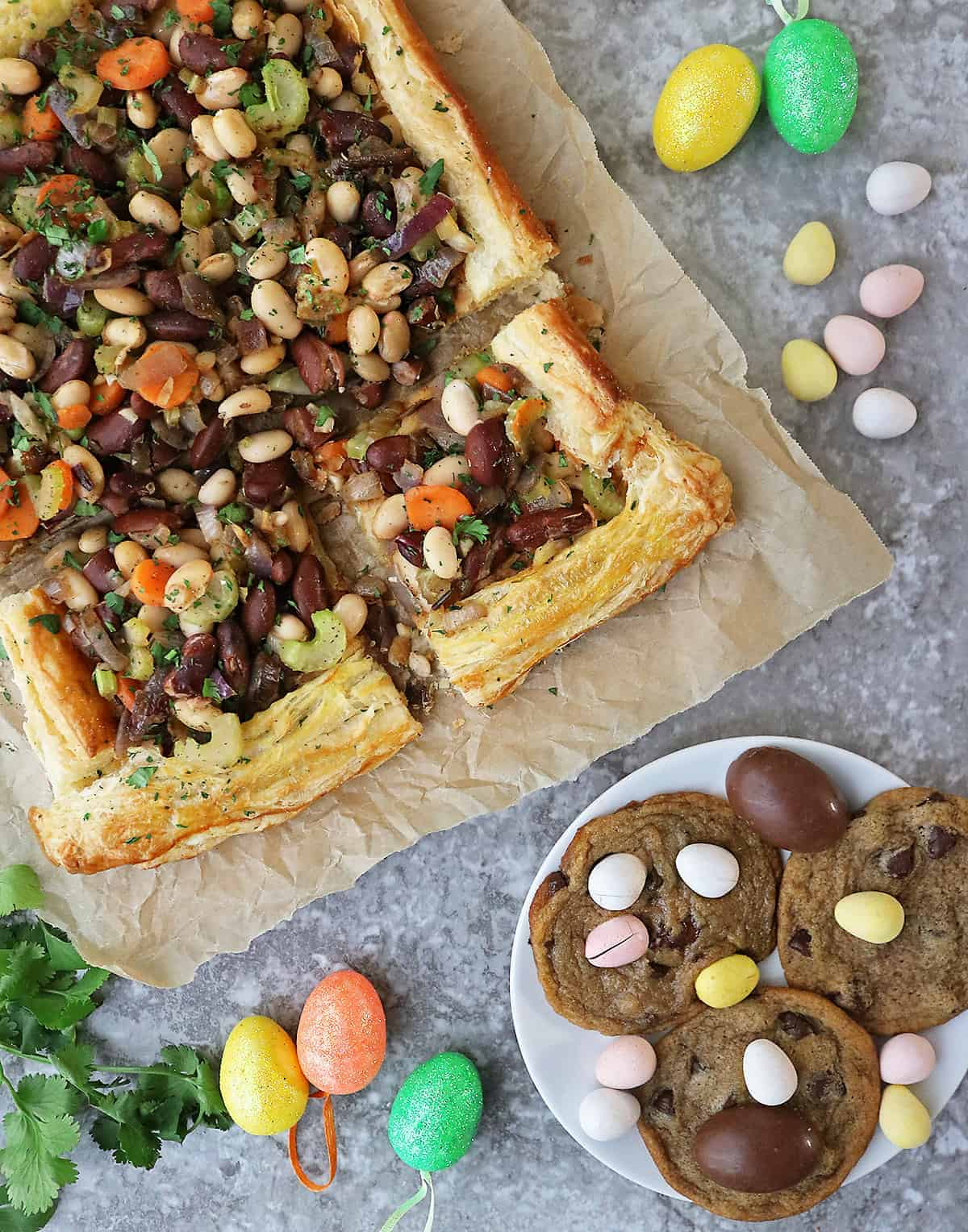 This super simple bean tart is made with puff pastry, canned beans, and a handful of other ingredients from your pantry. Serve it up for a tasty weeknight dinner or for your stay-at-home Easter meal.