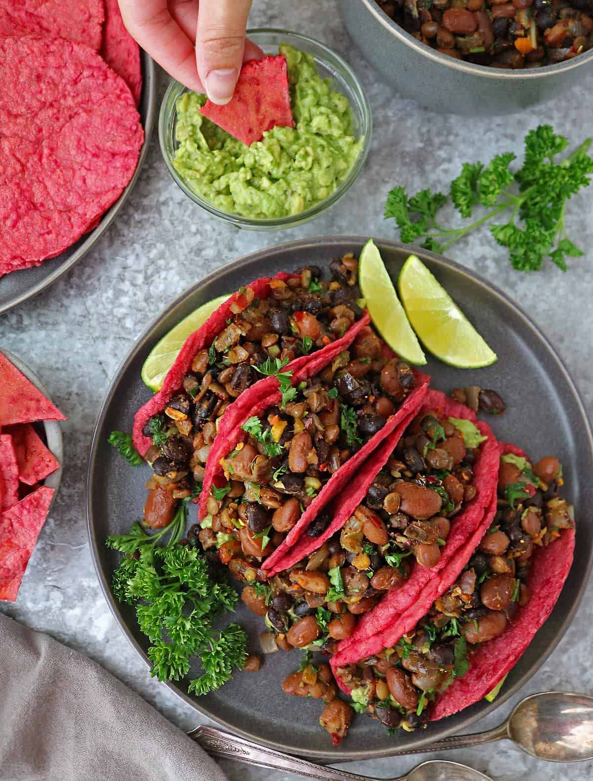 Beetroot Tortillas With Bean Filling For Dinner