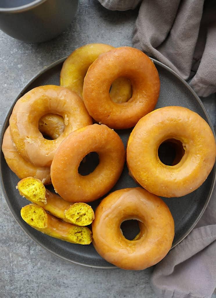Decadent turmeric donuts with caramel glaze