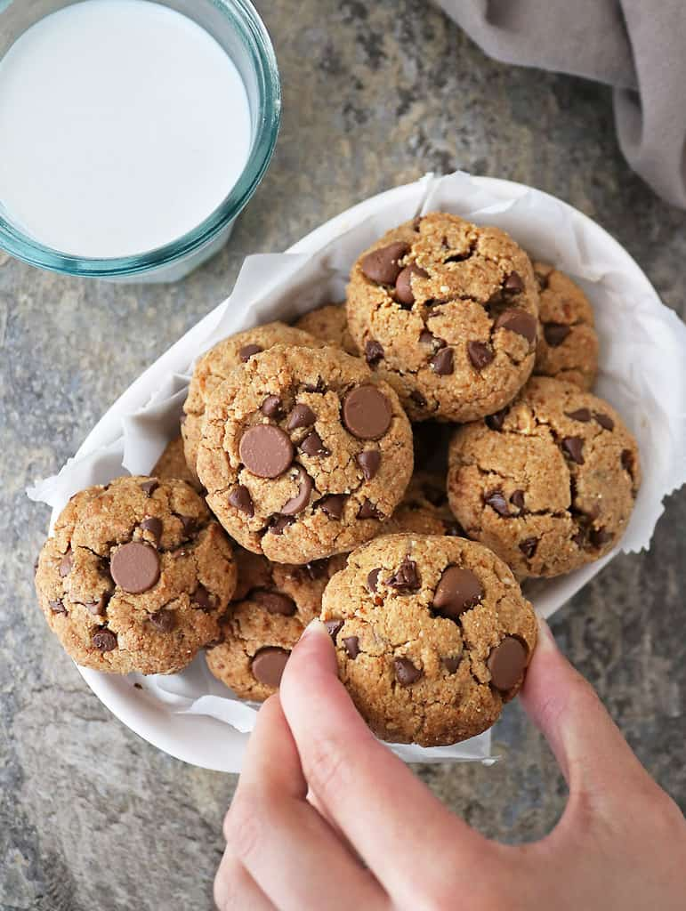 bowl of Delicious easy egg free almond chocolate chip cookies