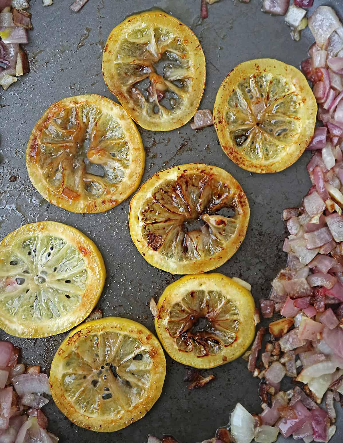 Sauteing lemon until slightly golden