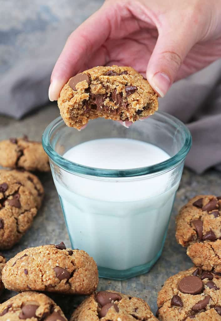 Super easy vegan almond chocolate chip cookies