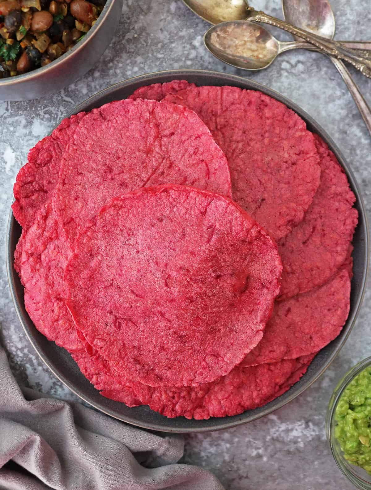 Plate with Tasty Easy Beautiful Beet Tortillas