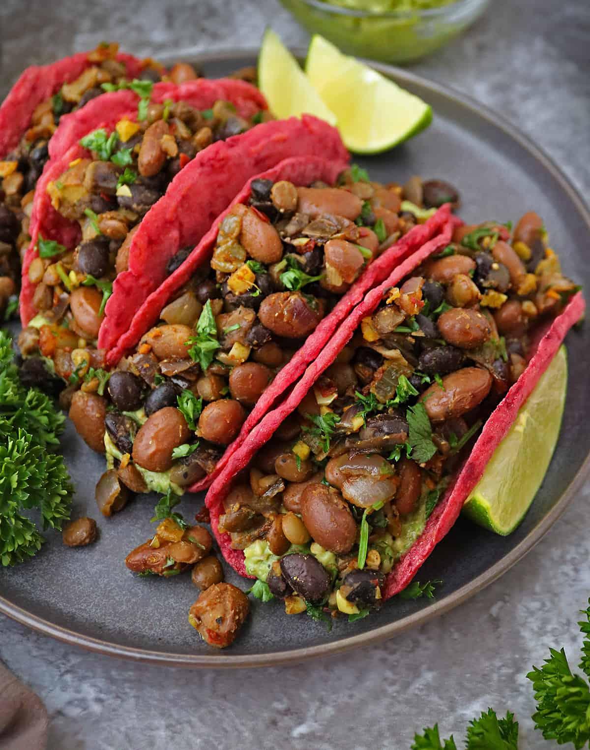 Tasty & Gluten-Free Easy Beet Tortillas With Bean Filling on  plate