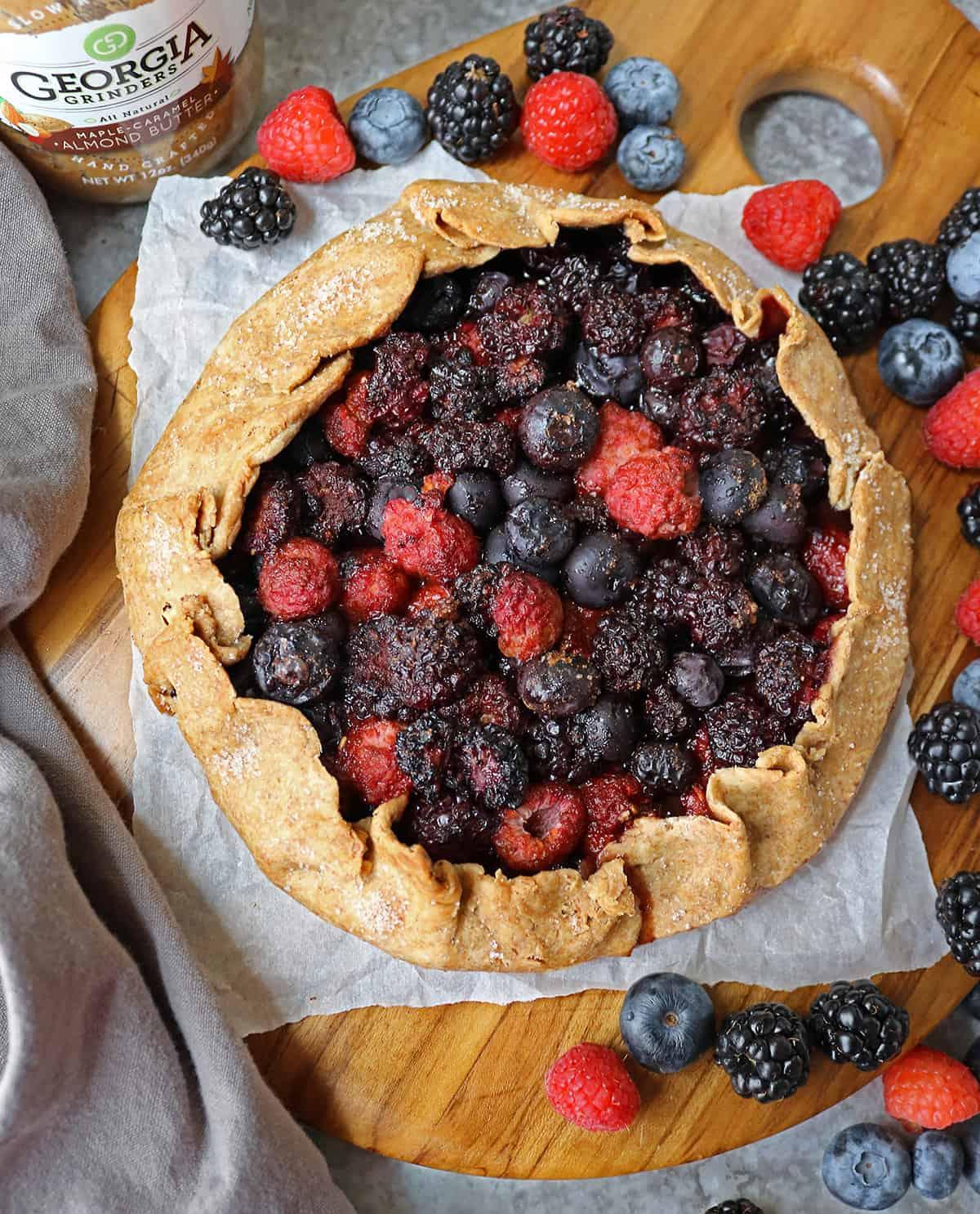 Tasty Easy Berry Galette made with raspberries, blueberries, and blackberries.