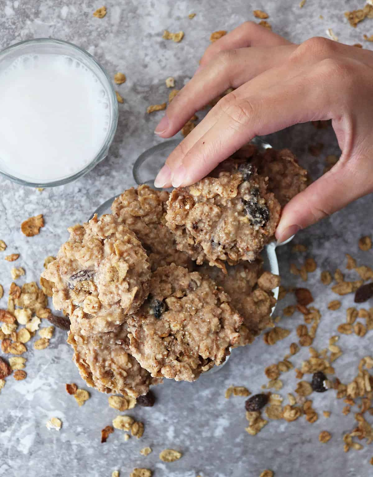 Plate of no-bake cereal cookies for snacking at home