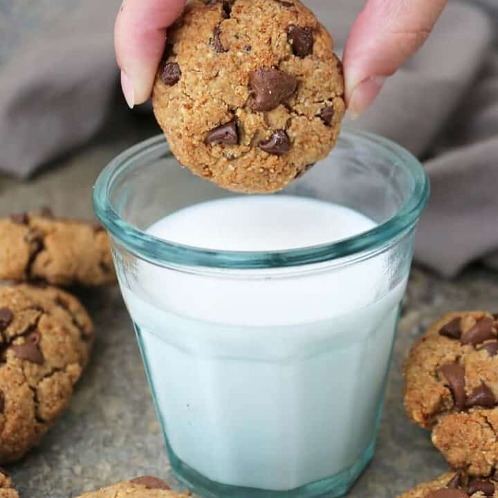 tasty egg free almond chocolate chip cookies