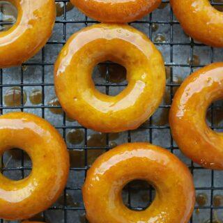 tasty golden donuts with decadent caramel glaze