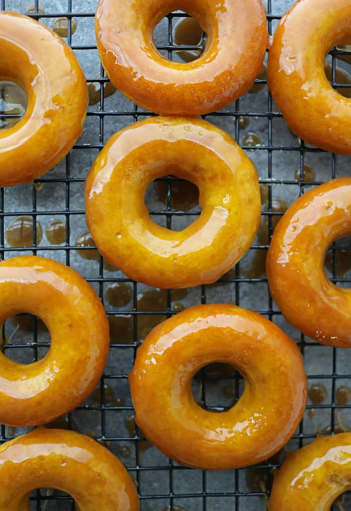 tasty golden donuts with decadent caramel glaze