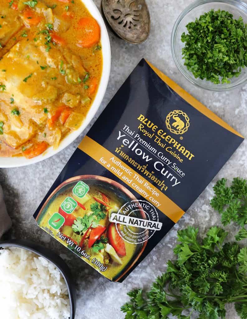 package of Blue Elephant Yellow Curry Sauce with thai yellow with Mahi Mahi