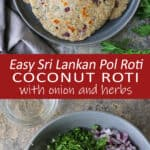 Easy Sri Lankan Pol Roti with onion and herbs