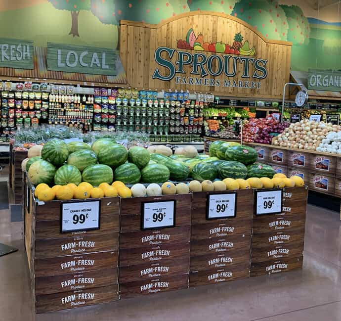 Fresh Unique melons displayed at Sprouts