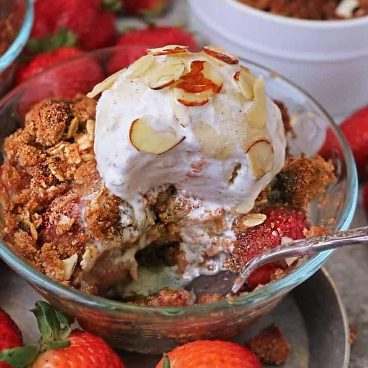 Tasty gluten free fresh strawberry crisp with coconut flour