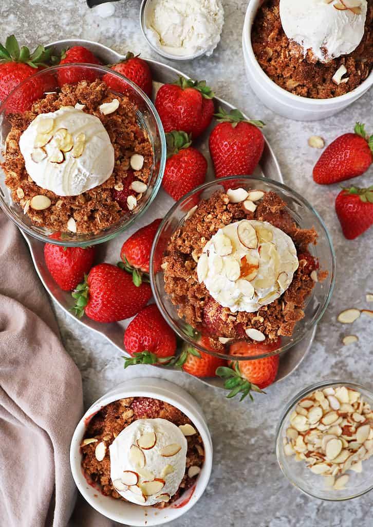 4 individual delicious gluten free strawberry crisp