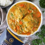 Big bowl with mahi mahi Thai yellow curry