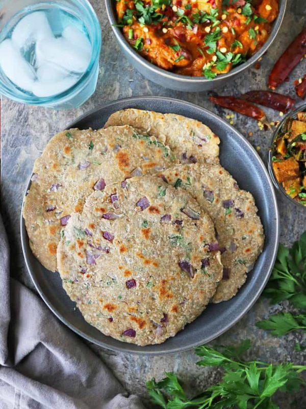 Sri Lankan Pol Roti with onion and herbs