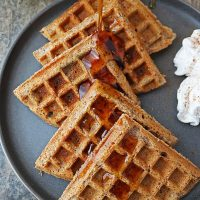 Plate of tasty 11-ingredient, glyten free and eggless waffles.