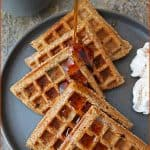Slightly soft and slightly crunchy, these 11-ingredient, cinnamon and cardamom spiked, refined sugar-free, gluten-free, eggless waffles
