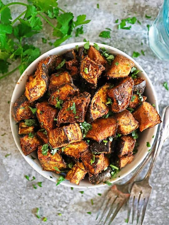 bowl with Easy sheet pan eggplant.