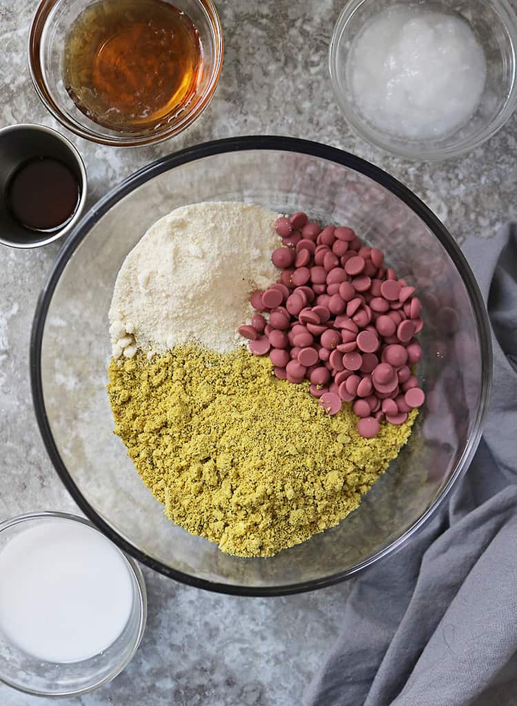 Ingredients to make no-bake pistachio cookies with ruby chocolate.