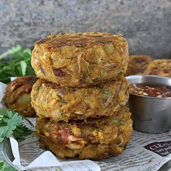 Stack of easy and tasty Vegan jackfruit cakes