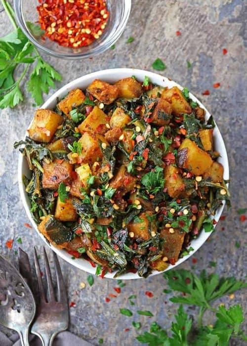 Healthy Potato Salad with Dandelion Greens