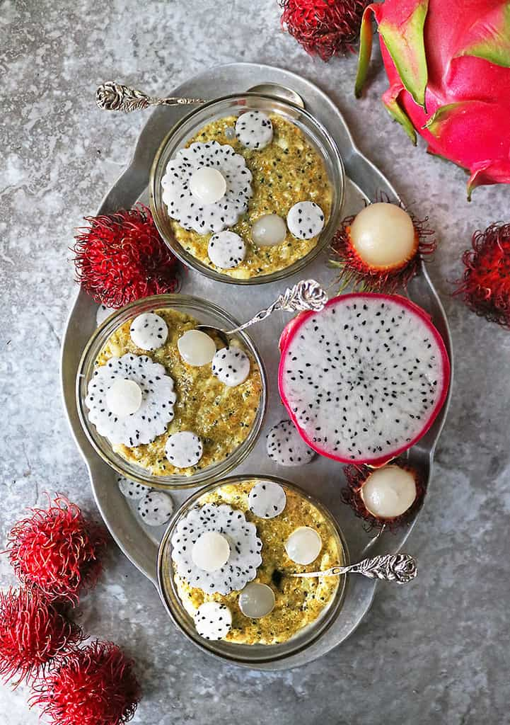 Easy delicious dragon fruit breakfast pudding with tropical rambutan