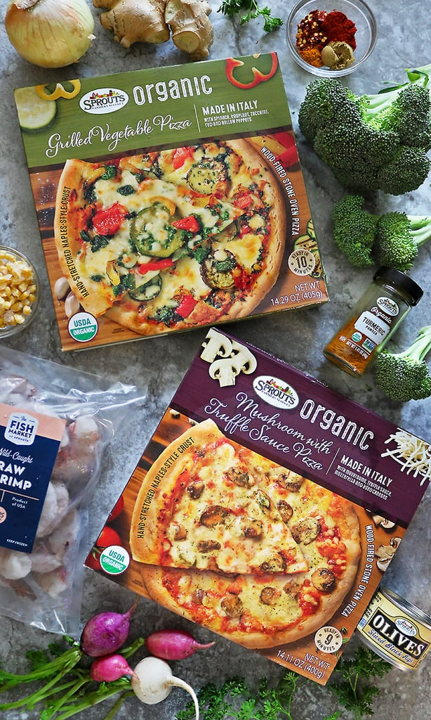 Two Sprouts Organic Frozen Pizzas and ingredients to make spicy shrimp broccoli saute.