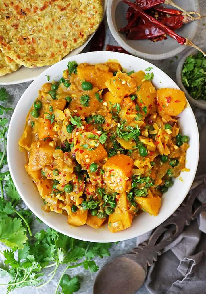 a Big bowl of butternut squash curry