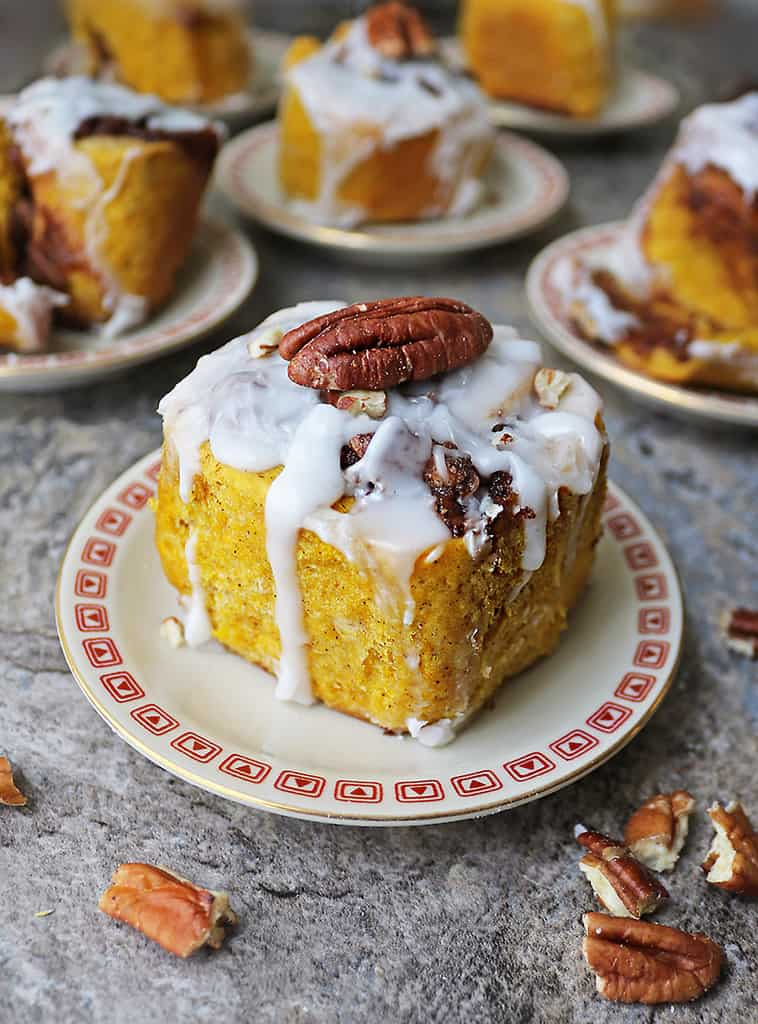 Eggless dairy-free pumpkin cinnamon rolls