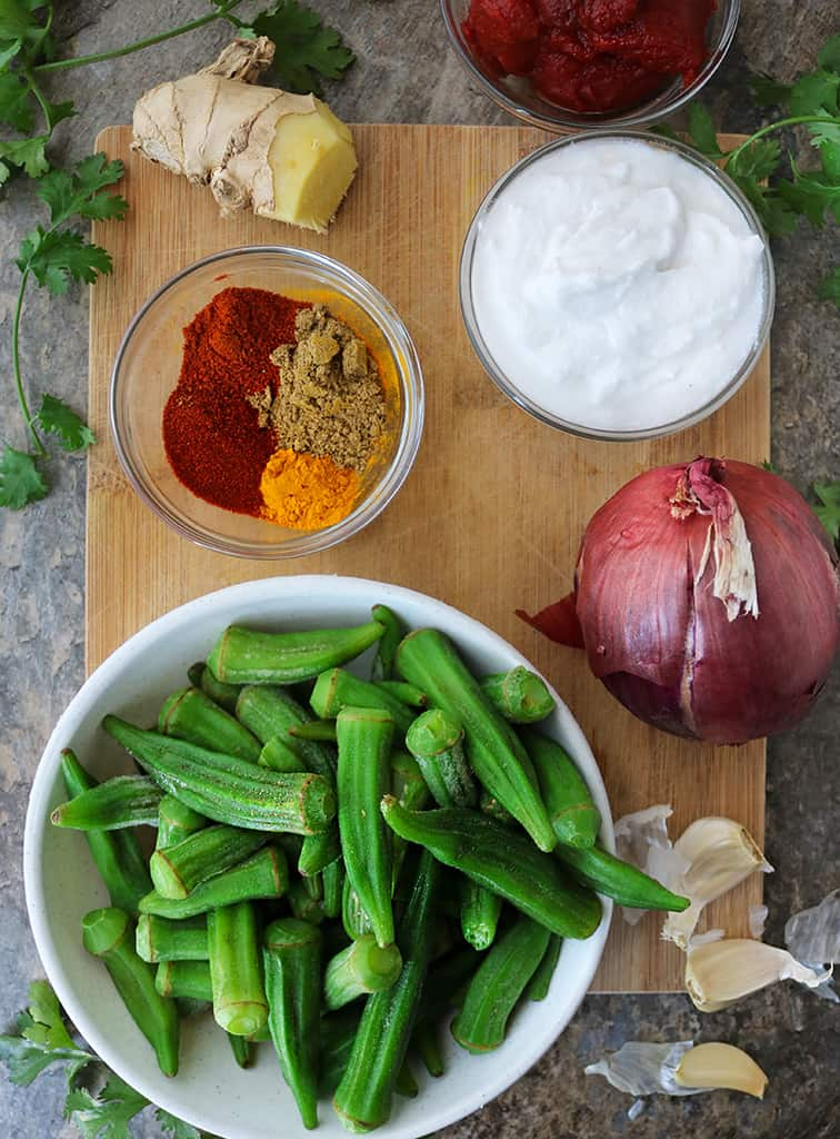 Ingredients to make okra curry