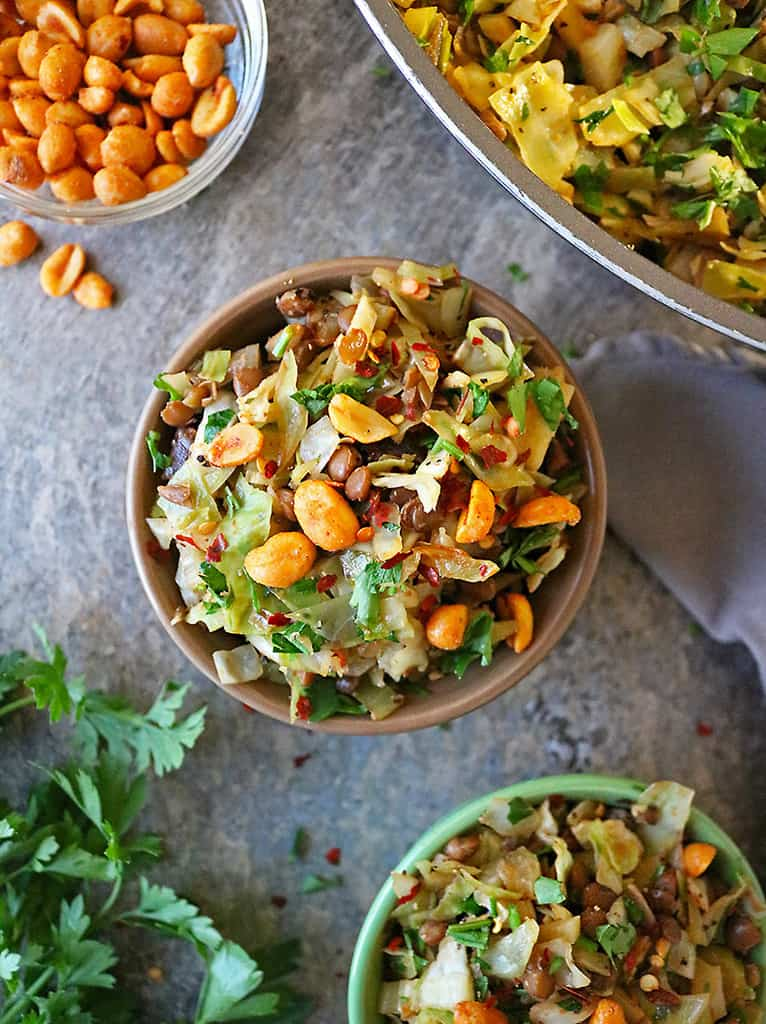 Light lunch of cabbage salad with lentils and peanuts