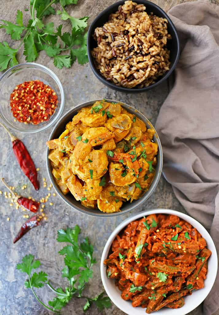 Shrimp curry okra curry rice for dinner