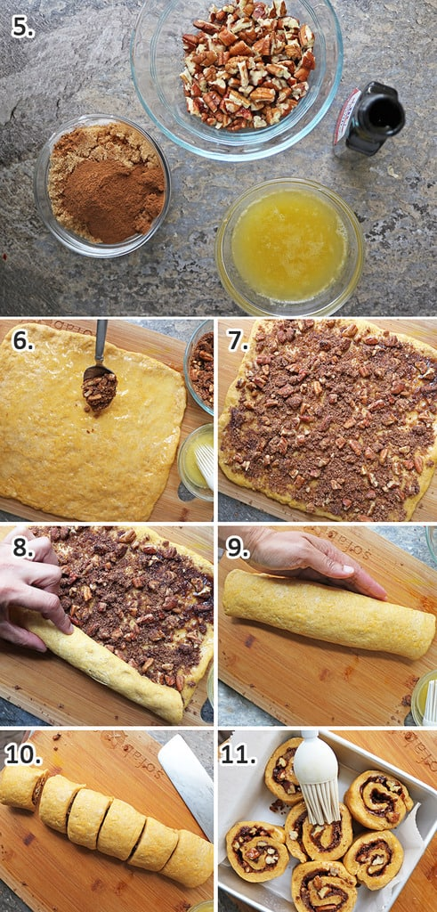 easy Steps to make filling and add it to dough for pumpkin cinnamon rolls.